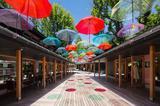 画像: 梅雨空を彩る「傘のアーケード」