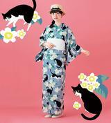 画像: 猫てんこ盛り!またたびの花とたわむれる、ハチワレ猫のオリジナル浴衣