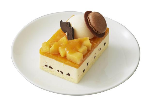 画像: マンゴーパッションソースで、父の日のイメージカラー、イ エローを表現。飾りチョコのヒゲがチャーミングです。