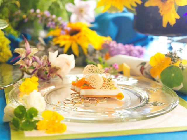 """画像: FLEUR D'ORANGER comme un blanc manger, gelée de camomille et crème glacé de miel à la liqueur de sapin オレンジフラワーウォーターのブランマンジェ  蜂蜜ともみの木リキュールのアイスクリームと共に オレンジの花から抽出したエッセンスの上質な香りが特徴のオレンジフラワーウォーターを使ったブランマンジェ。 森の自然を彷彿とさせる爽やかな香りが楽しめる """"もみの木リキュール""""(もみの木の新芽などから造られたフランスのリキュール)と蜂蜜を使ったアイスクリーム。 そして、癒しのハーブであるカモミールのジュレをあしらっています。蜂蜜に因んで、蜂の巣をデザインした遊び心たっぷりのメレンゲのデコレーションが楽しめるひと皿です。"""