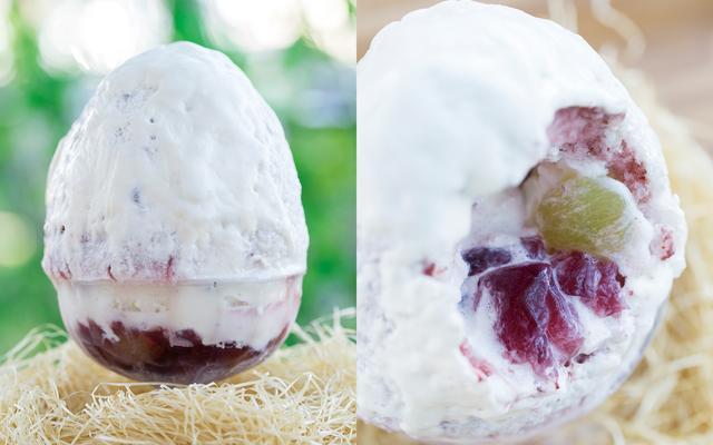 画像: ブドウかき氷 ¥1,250(税別)  8月初旬発売予定 《説明》フレッシュなブドウとブドウを使用したジュレが中に詰まっています。おいしいブドウが収穫できるこの時期だけの味わいをご堪能ください。