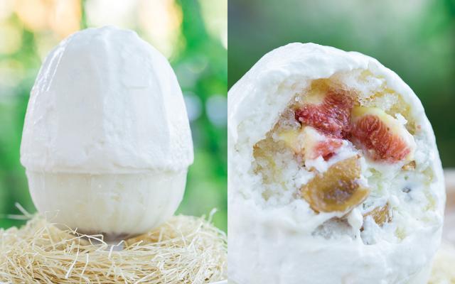画像: イチジクかき氷 ¥1,580(税別) 7月中旬発売予定 《説明》フレッシュイチジクとジャムにしたイチジク、紅茶シロップでコンポートしたイチジク。3つの異なる食感がうれしい、少し大人向けのかき氷。