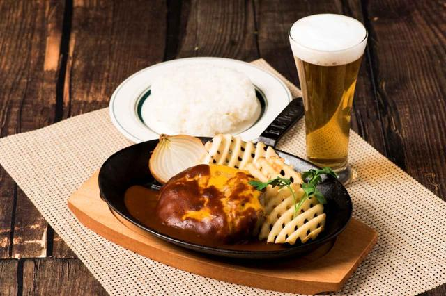 画像: ◆STEAK & CAFE by DexeeDiner<2F> チーズデミバーグ(ライス、サラダ、スープ付) 1,800円(税込) ※ビールは別売りになります。 濃厚なデミグラスソースとチーズの王道ペア!! 大人も子供も大好きな一品です!!