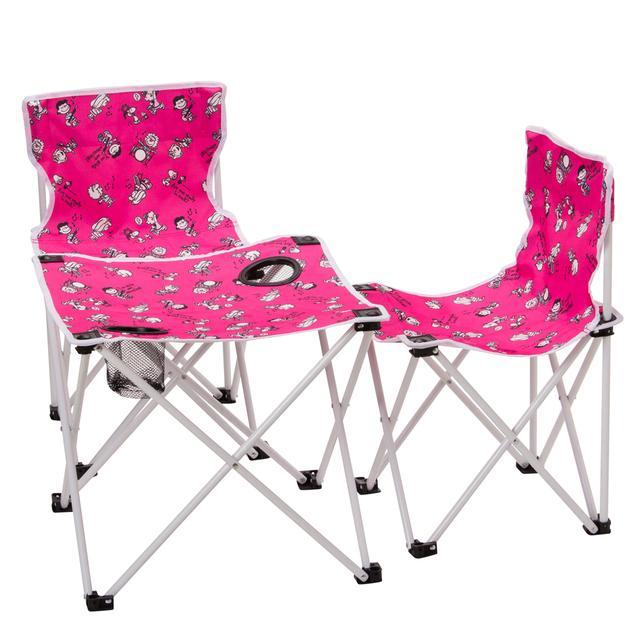 画像: チェア(2脚)&テーブルセット 6,800円 アウトドア、フェスなどに便利な折りたたみ式。テーブルにはコップを入れて固定できるホルダー付き。