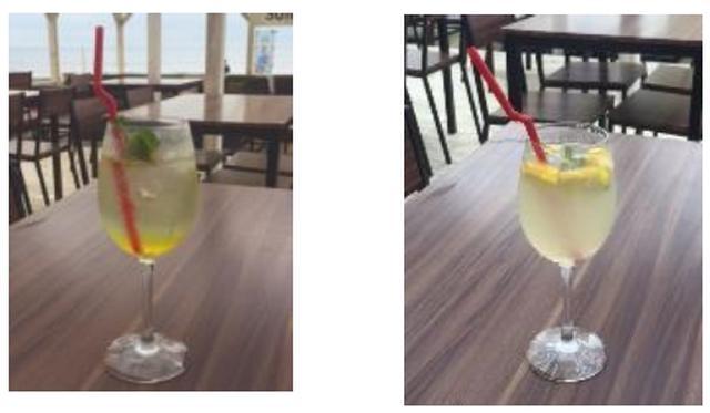 画像: (写真左) パーフェクトレディカクテル(※アルコール) フランスを代表するハーブ系リキュールであるシカルトリューズをトニックで割りました。ハーブ系のさわやかな風味とともに甘口で飲みやすいカクテルです。 (写真右)ビーナスドリンク(※ノンアルコール) グレープフルーツをベースに、ヒアルロンジュレを配合し清涼感あるこの夏おすすめのさっぱりとしたドリンク。エルダーフラワー・シロップを加えたことで女性らしいエレガントな味わいをお楽しみいただけます。