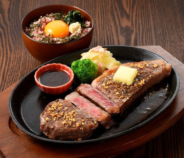画像: (肉)十勝食堂ポロシリ「北海道産牛鉄板サーロインステーキとミニ牛とろ丼セット」(1人前、2,500円)京王百貨店限定