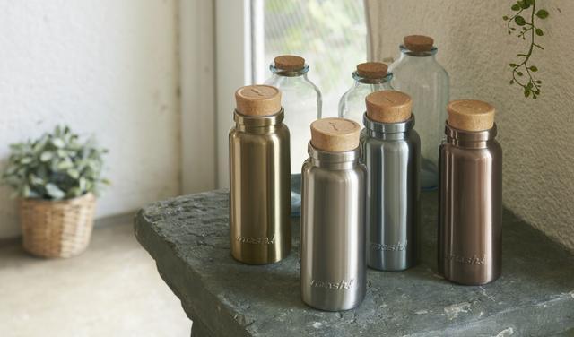 画像1: アンティークのガラスコルク瓶がステンレスボトルに