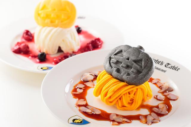 画像: モンブラン/ホワイトモンブラン 各420円【ナイト・テーブル・レストラン】 かぼちゃのモンブラン(キャラメルナッツソース)とホワイトモンブラン(ベリーソース)の2種類。ケーキの上にはパンプキンのモナカがのっています。