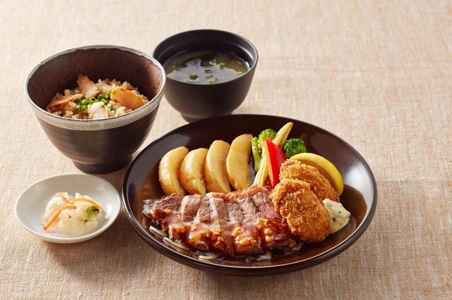 画像: 広島産牡蠣フライとサーロインステーキ 松茸ごはん御膳 醤油ガーリックソース 1,799円