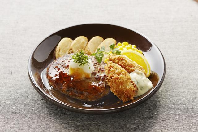 画像: 広島産牡蠣フライと和風おろしハンバーグ 999円