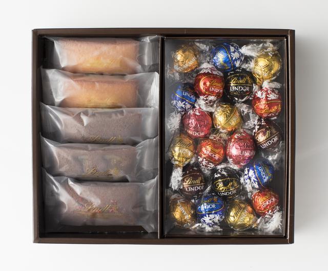 画像: ●焼き菓子ギフトボックス(フィナンシエ4種5個、リンドール7種20個) フィナンシエ ナチュール        2個 フィナンシエ ショコラ         1個 フィナンシエ ショコラ オランジュ   1個 フィナンシエ ショコラ フランボワーズ 1個 リンドール              7種20個 3,780円(税込)