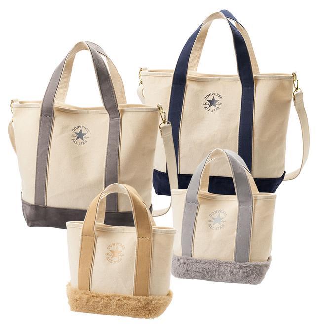画像: PLAZA別注 コンバース トートバッグ ベロアトート 各4,800円 ファーミニトート 各3,500円 シンプルなデザインにトレンドのファー素材を加えた、今年らしいバッグです。ベロアトートはショルダーストラップ付き。