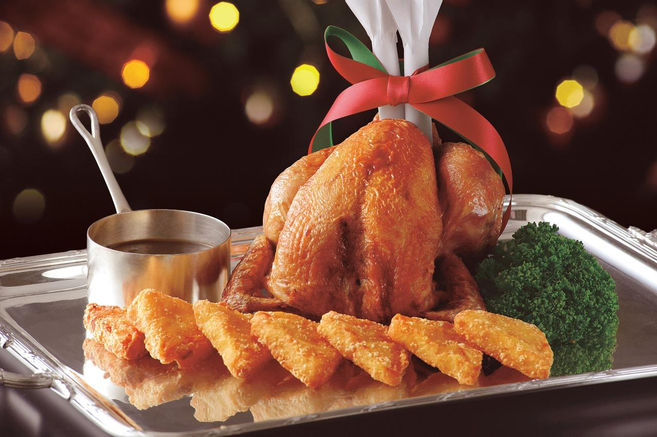 画像: Roast Chicken (ローストチキン) クリスマス風ポテト/フォン・ド・ヴォー ソース ¥8,640 (4名様用・約1.0kg)