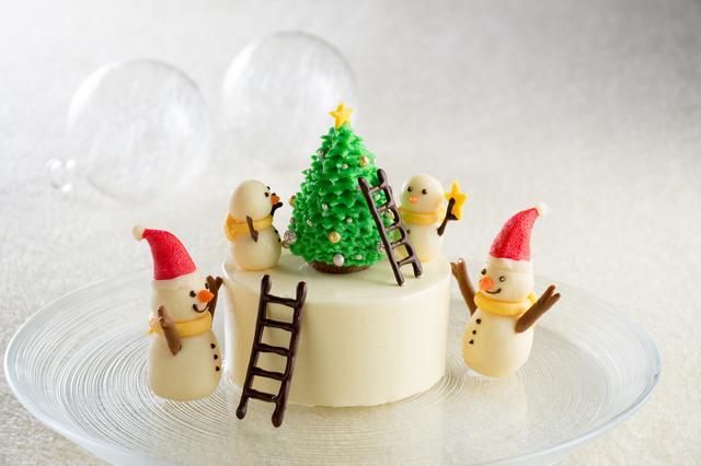 画像: 「ゆきだるまファミリー」  5,500円 ケーキ部分のサイズ:直径9㎝×高さ10㎝