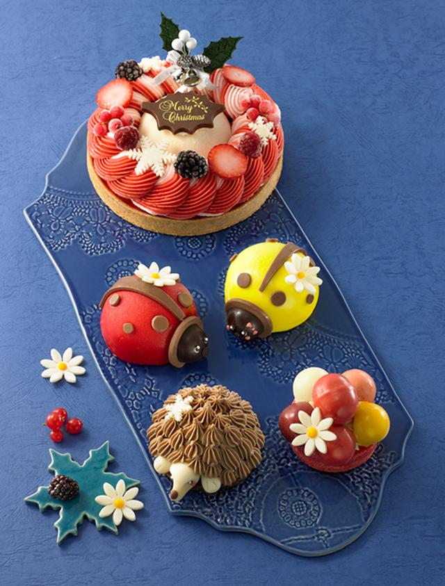 """画像: 『グラッシェル』クローンヌ ド """"グラッシェル"""" (直径約15cm)6,480円 クリームチーズのアイスを囲むように苺風味のマスカルポーネアイスと苺&ラズベリーシャーベットを絞った甘酸っぱいアイスケーキ。"""
