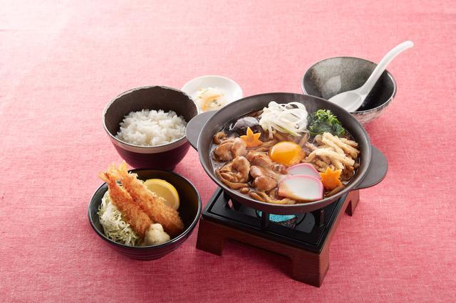 画像: 名古屋名物!味噌煮込みうどんと海老フライ御膳(ごはん・漬物つき) 1,299円