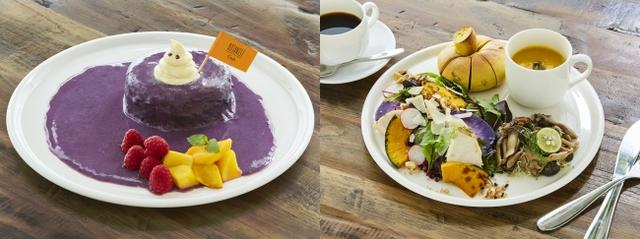 画像: (左)HALLOWEEN UBE PANCAKE 1,000円(税込) (右)BOTANICAL HALLOWEEN BRUNCH SALAD SET 1,300円(税込)