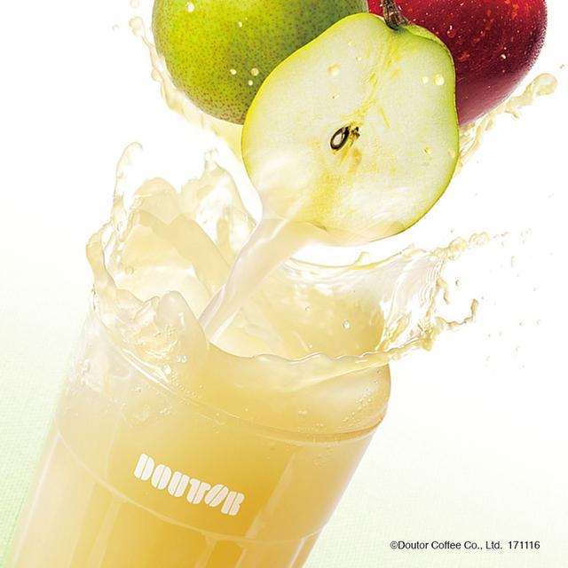画像: 山形県産のラ・フランスと国産りんごを使用した、果汁100%のミックスジュースです。 ラ・フランスの芳醇な香りに、りんご果汁をミックスすることで甘すぎず、すっきりとした後味に仕上げました。さらに、りんごのピューレも加え、果実本来の味わいを楽しめるオリジナルブレンドのジュースです。