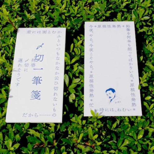 画像: 夏目漱石先生のイラスト入りの一筆箋。 「今夜、やる。今夜こそやる。」「原稿性発熱」「鉛筆を何本も削ってばかりいる。」「忙しいときには、ねむい」など、パワーワード炸裂!〆切に追われる人も、追う人も、これで一筆したためれば効果バツグン(!?)