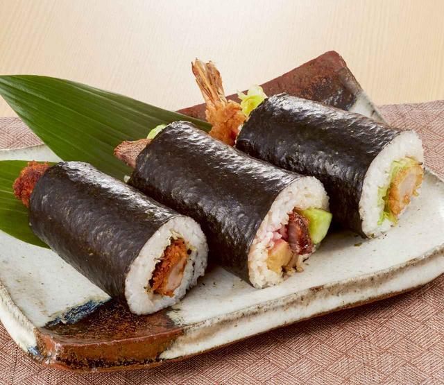 画像: お子様も大喜び!エビフライ、チャーシュー、味噌カツの恵方巻き。 <まつおか> 恵方巻き3種盛り 2,160円