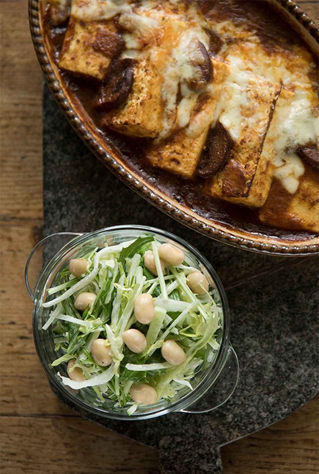 画像: 焼き豆腐のカレードリア風+コールスロー風サラダ