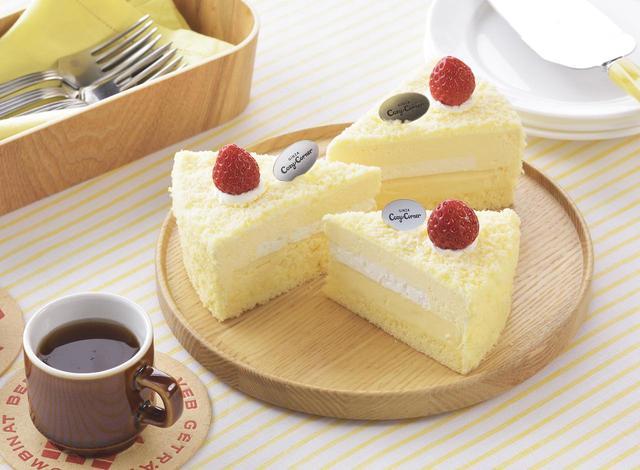 画像: 価 格: ¥430(税込¥464) 特 長: ベイクドチーズの上に、チーズムース、フロマージュブランムースを重ねました。3種のチーズの層が奏でる爽やかなハーモニーをお楽しみください。