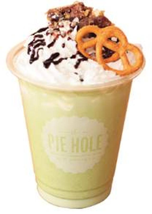 画像: 《廣川奈々聖(グリーン)考案》 生クリームいっぱいキミだけの抹茶オレ 抹茶ミルクにホイップクリームをトッピング。 ピーカンナッツ、プレッツェル、チョコレートソースで 香ばしく仕上げました。