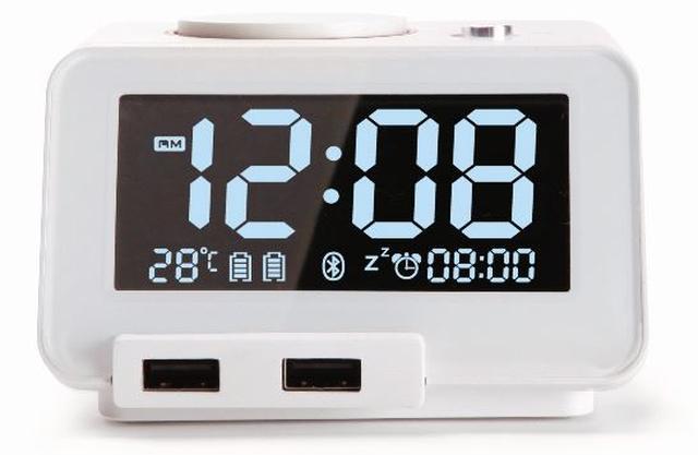 画像: ワイヤレススピーカー、目覚まし時計、温度計、デュアル充電能(USB)を併せ持つ多機能なデジタルクロック。