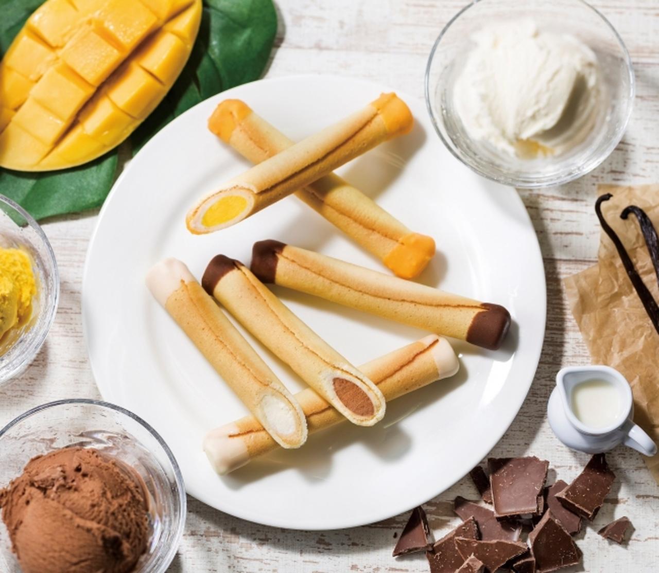画像: 「シガール アイスクリーム」商品ラインナップ 【バニラ】 ミルクのコクが際立つアイスクリームとシガールのバターの香り。 絶妙なバランスの口どけで、ミルクの余韻が楽しめます。 【チョコレート】 まろやかなミルクチョコレートアイスクリームとシガールの甘み。 心地よい口どけで、すっきりとした甘さが広がります。 【マンゴー】 フルーティーでコクのあるマンゴーアイスクリームとシガールの組み合わせ。まろやかな甘みとマンゴーの香りが楽しめます。