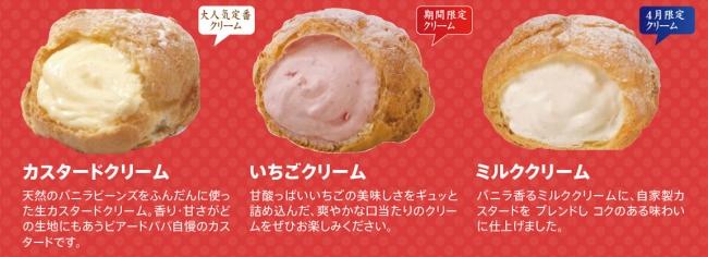 画像: ○カスタードクリーム 天然のバニラビーンズをふんだんに使った生カスタードクリーム。香り・甘さがどの生地にもあうビアードパパ自慢のカスタードです。 ○いちごクリーム(3月~4月限定クリーム) 甘酸っぱいいちごの美味しさをギュッと詰め込んだ、爽やかな口当たりのクリームをぜひお楽しみください。 ○ミルクバニラクリーム(4月限定クリーム) バニラ香るミルククリームに、自家製カスタードをブレンドしコクのある味わいに仕上げました。