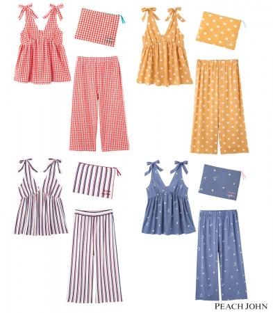 画像: サマーキャミパジャマセット 4,980円(+税) サイズ:S/M、M/L カラー:フラガール、ギンガム、ドット、ストライプ、フラワー(全5色)