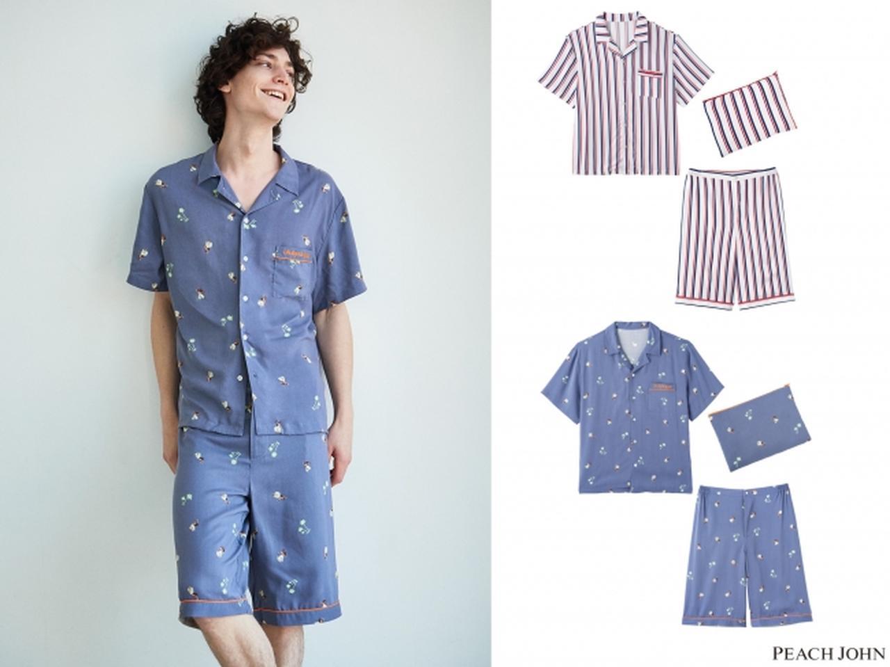 画像: メンズサマーシャツパジャマセット 5,980円(+税) サイズ:M/L カラー:ストライプ、フラガール