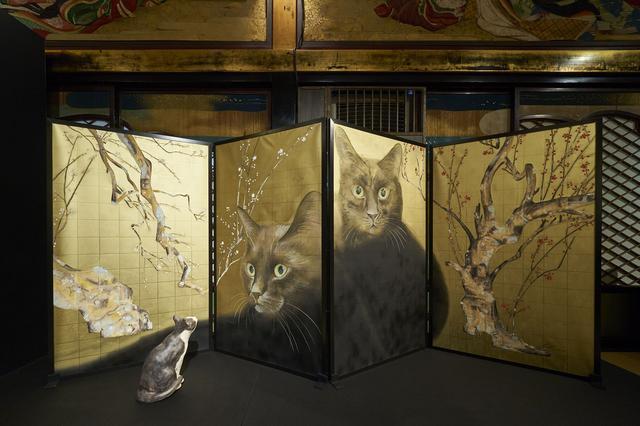 画像: 色鉛筆で描かれた秀作 紅白梅黒猫図/目羅健嗣作