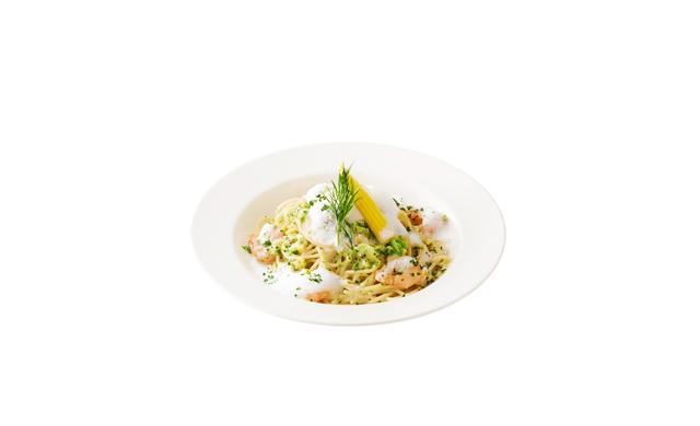 画像: 「海老、ヤングコーンのkiriクリームスパゲッティ kiriのカプチーノ仕立て」 ・「キリ クリームチーズ」をたっぷりと使った爽やかなコクのあるクリーミーソース