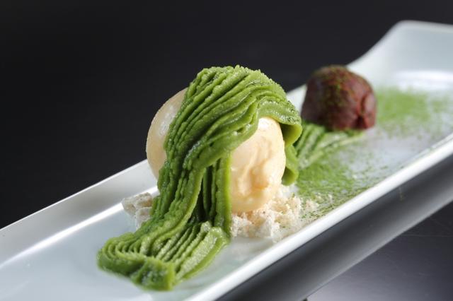 画像: きなこのアイスクリームと抹茶のモンブラン風