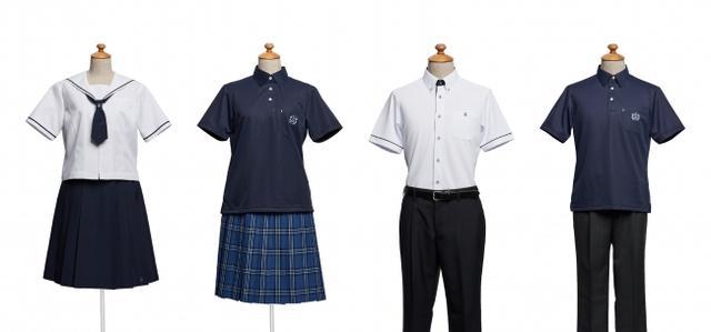 画像: ■岡山県立 総社高等学校(岡山県) 【デザイナーコメント】 総社高校では夏服を2種類展開しています。正装スタイルは、白を基調とした清潔感をテーマに、白と紺のコントラストを効かせたデザインです。女子のセーラーはネクタイの大きさにこだわって上品に仕上げました。男女ともに袖口のラインがアクセントで、男女の統一感も高めています。男子の胸ポケットと女子のネクタイ留めには、冬服ジャケットのエンブレムにも使われているオリジナルロゴ刺繍を入れました。 また、オプションスタイルはスカイブルーでアクセントをつけた爽やかな紺色のポロシャツスタイル。 胸の刺繍は藤の花がデザインされています。女子はサックスブルーを基調としたはっきりとしたチェック柄を合わせました。活動的で、かっこよさとかわいさを兼ね備えたスクールユニフォームらしいスタイルです。男子のグレーのスラックスにはさりげないストライプが入っています。