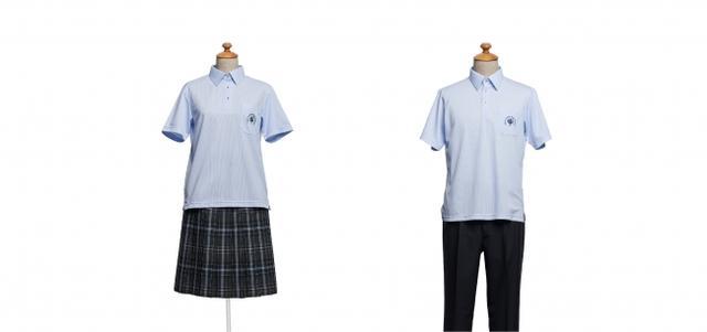 画像: ■学校法人大阪滋慶学園 滋慶学園高等学校 美作キャンパス(岡山県) 【デザイナーコメント】 冬服と同柄のボトムにサックスのプルオーバーを合わせ、夏らしい爽やかなデザインに仕上げました。素材にもこだわり、通気性や吸汗速乾性に優れたニットシャツを採用。暑い日も快適に過ごすことができます。胸ポケットにはジャケットと同じ刺繍をブルーで施し、デザインのポイントにしました。