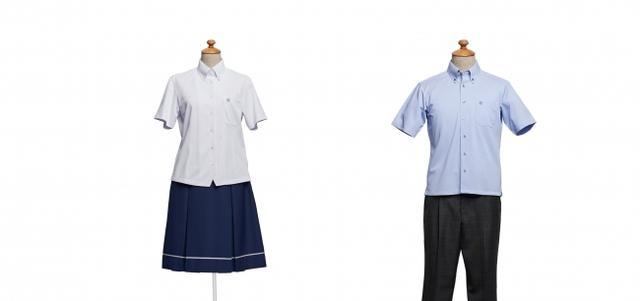 画像: ■学校法人久留米信愛学院 久留米信愛中学校・高等学校(福岡県) 【デザイナーコメント】 女子のスカートは冬服同様、上品で可愛らしい白のラインがポイントです。ブラウスは、すっきりとシンプルなデザインにしてスカートを引き立てました。男子はグレーのミニチェックに、爽やかなサックスのシャツを合わせました。