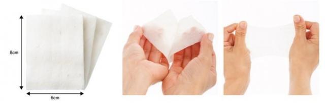 画像: ◆ふんわり柔らか設計 大きくカットした8cm×6cmの大判サイズです。肌への刺激を与えない柔らかさで設計しているため、やさしい使い心地で、クレンジングの拭き取りに最適です。また、厚みがあり、割いて伸ばすこともできる為ローションパックにも使用できます。