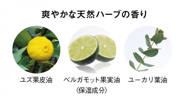画像: ◆3つの天然ハーブの香りで、気分もリフレッシュ 爽やかな香りが特長の3種の天然アロマオイルを配合。現代人のストレスにも着目し、スッキリと気分をリフレッシュする香りでつつみ込みます。