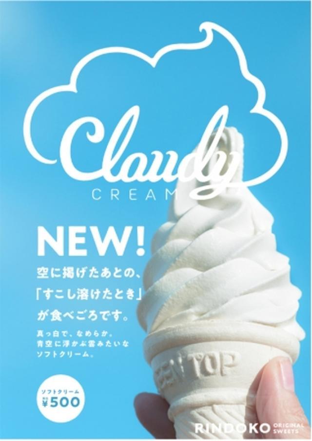 """画像: 「Cloudy Cream」¥500(税込) りんどう湖ファミリー牧場で飼育された、ジャージー牛のフレッシュでコク深いミルクと生クリームを贅沢に使用しました。素材の持つ味わいや品質を、最高の状態でお届けできるよう改良を重ね""""濃厚でクリーミーな味わい""""と""""心地よい甘さ""""、 """"なめらかな口どけ""""の最高のバランスを実現いたしました。真っ白な見ためはまるで雲のように、園内に広がるたくさんの景色に溶け込んでいきます。名前もそのまま「Cloudy Cream(雲のクリーム)」と名付け、景色や味わいだけでなく、手にするお客様の気分にもなめらかに溶け込み、愛される商品となることを願っています。空に掲げたあとの「すこし溶けたとき」が食べごろです。"""
