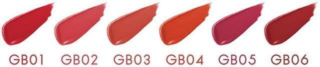 画像: (写真左から) GB01 レッドガーネット 洗練されたビューティレッドで美人な唇に GB02 ピーチタルト 甘くやわらかなピンクで少女のような唇に GB03 アプリコットシナモン しっとりコーラルで品のある愛され唇に GB04 ハニーネクター 澄んだピュアオレンジでジューシーな唇に GB05 カシスロゼ 濃密なカシスピンクで凛とモードな唇に GB06 ショコラベリー 落ち着いたブラウンレッドでレディな唇に