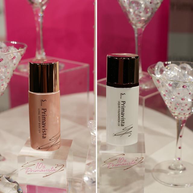 画像: (左)皮脂くずれ防止 化粧下地 10周年限定デザイン (右)くずれにくい 化粧のり実感リキッドファンデーションUV10周年限定デザイン
