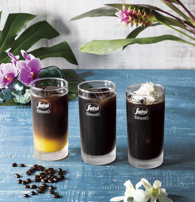 画像: 商品イメージ(左から):カウアイ・コーヒー・コールドブリュー & オレンジジュース カウアイ・コーヒー・コールドブリュー カウアイ・コーヒー・コールドブリュー with ココナッツホイップ