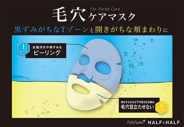 画像: 黒ずみがちなTゾーンと開きがちな頬まわりに <上シート> 皮脂汚れや黒ずみをピーリング <下シート> 開きがちなほほ下の肌を 引き締め毛穴目立たせない
