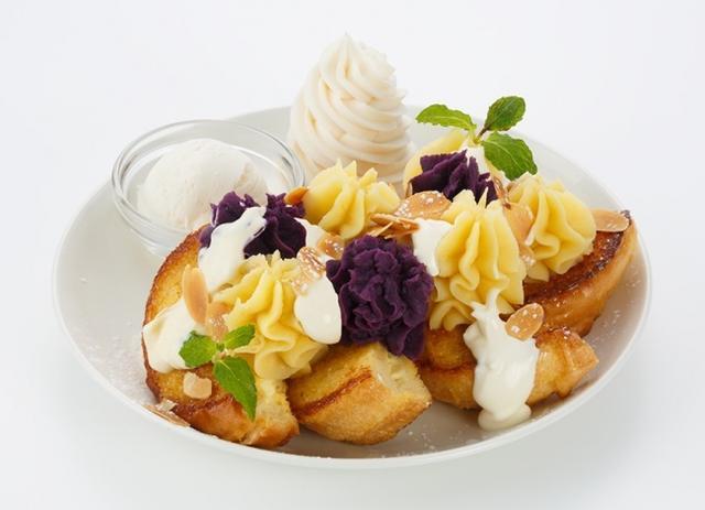 画像: スイートポテト〈Sweet Potato〉 収穫の季節に外せない一皿が今年も登場です。 さつまいも・紫芋をそれぞれカスタードクリームと合わせた2種のスイートポテト。たっぷりとフレンチトーストに絞り、パリパリに香ばしくローストしたアーモンドをふりかけた秋らしいスイーツです。 Regular size 1,600円 Half size 1,100円