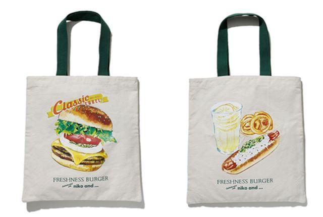 画像: トートバッグ ¥2,200+TAX ※表面がハンバーガー、裏面がレモネードです