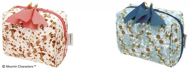 画像: ■コーティングミニポーチ ミックスベリー(全2種類) コスメの持ち運びにぴったりのミニポーチです。 上部ファスナーは大きく開き出し入れに便利な形状となっています。 商品名:コーティングミニポーチ ミックスベリー(全2種類)ピンク、グリーン 価 格:各1,700円(税別) ※ムーミンショップ限定商品