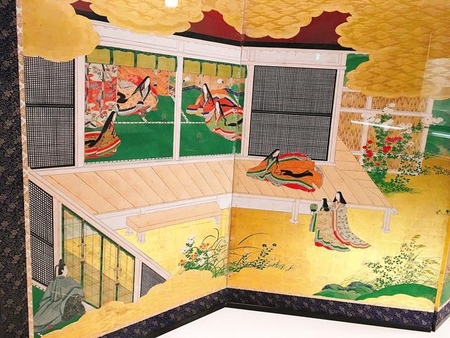 画像: 源氏物語の一節を表した屏風絵