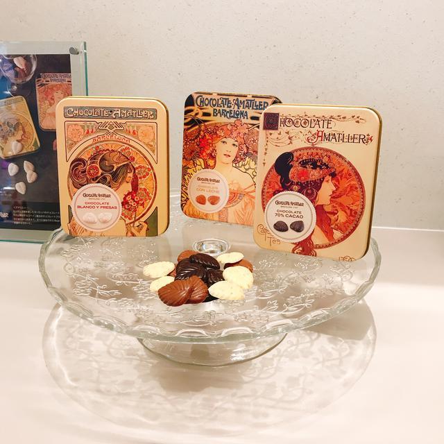 画像: アマリエのミュシャの絵を使用したパッケージ「Chocolate Amatller(アマリエ)」リーフチョコレート「桜草」/リーフチョコレート「夢想」/リーフチョコレート「ビザンチン」